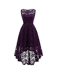 OCEAN-STORE Woman LaceRound Neck Pure Color Swing Slim Dresses Evening Dress
