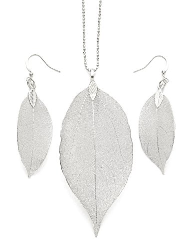 Silver Leaf Necklace (Long necklace for Women Pendant Necklace Silver Bohemian Boho Fashion Jewelry Earrings and Necklace Set Natural Leaf Necklace Anniversary Gifts for Her Valentine's Day Gifts Birthday Gifts for Women)