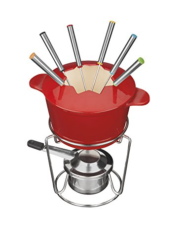 Make Easy Dairy Free Chocolate Fondue in a Cuisinart FP-115RS 13-Piece Cast Iron Fondue Set, Red