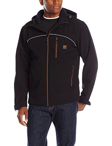 (Walls Men's Windcrest Storm Protector Hooded Solid Softshell Wpb Jacket, Midnight Black, X-Large)
