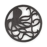 gasaré, Cast Iron Trivet for Hot Dishes, Octopus Design, Legs with Rubber Caps, 8 Inches, Rust Brown Color