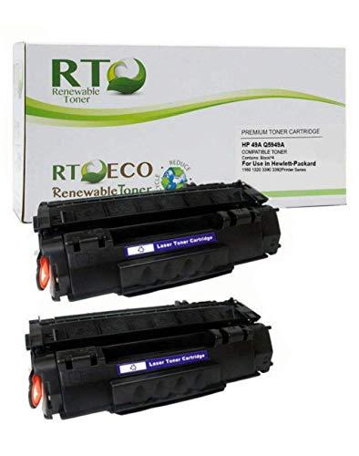 Renewable Toner Compatible Toner Cartridge Replacement for HP 49A Q5949A Laserjet 1160 1320 3390 3392 (Black, 2-Pack)