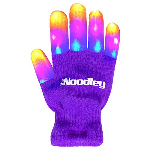 The Noodley Flashing LED Light Gloves - Kids Size and Teen Size - Extra Batteries (Purple, Medium)]()