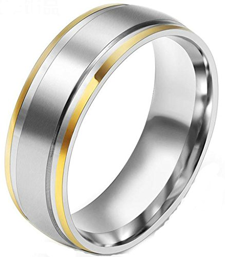 Womens Wedding Band Stainless Steel Silver Simple Round Size 9 by Aienid (14k Gold Flower Band Ring)