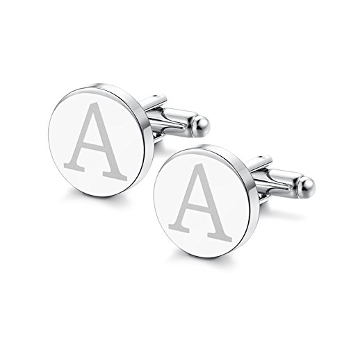 ORAZIO Mens Classic Engraved Initial Cufflinks Alphabet Letter Cufflinks Formal Kit Business Wedding Shirts A