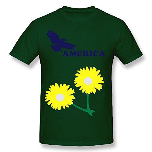 Fengzedid America USA Women's Short Sleeve Distinctive T ShirtSize L Color ForestGreen