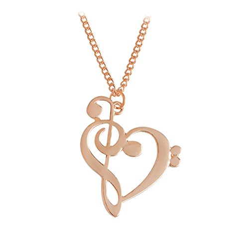 Earrings Nordstrom Rose (Baqijian Minimalist Simple Hollow Heart Shaped Musical Note Pendant Necklace Music Jewelry Gold Silver Special Gift Rose Gold)