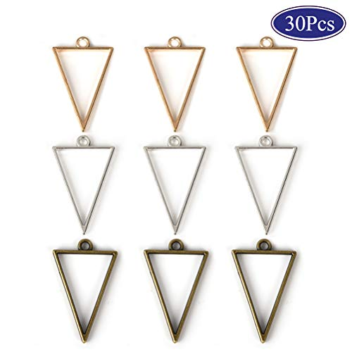 (OBSEDE Triangle Open Bezel Charms for Resin Back Bezels Frame Pendant Blanks Hollow Mold for Jewelry Making 25x39mm 30pcs)