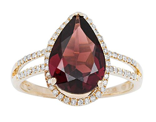 10k Yellow Gold 2.60ct Pear-Shaped Garnet and Halo Diamond Ring (1/4 (Pear Shaped Garnet Ring)