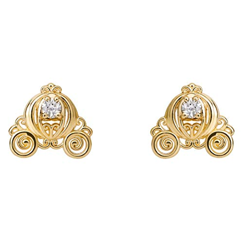 Disney Princess Cinderella Jewelry for Girls, 14KT Yellow Gold and Diamond Accent Royal Carriage Stud Earrings ()