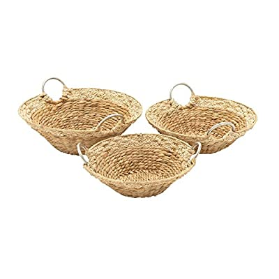 "Deco 79 41147 Sea Grass Storage Basket (Set of 3), 16""/17""/18""W - Color: silver Finish: polished, textured Material: aluminum - living-room-decor, living-room, baskets-storage - 41Y 0ZuIoEL. SS400  -"