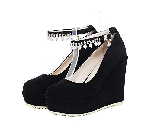 Unie Noir Légeres À Femme Chaussures Haut Agoolar Boucle Couleur Talon Gmbdb012001 qavECSaxOw
