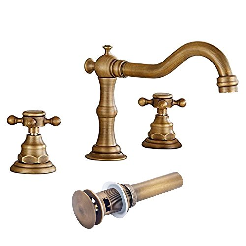 Antique Bathroom Faucet Brass (Votamuta Deck Mounted Three Holes Double Handles Widespread Bathroom Sink Faucet with Matching Pop Up Drain with Overflow,Antique Brass)