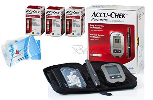 Accu Chek Performa 150 Test Strips (Very Long Expiration Dates) Bundle Glucometer Tester Monitor Kit + Softclix + Lancets + Diabetes Wipes Finger Sterilizers Cleaners for Accurate Blood Level Results by Accu Chek + Dia Wipes