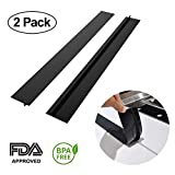 Silicone Stove Counter Gap Cover - Kitchen Wide & Long Gap Filler, Seals Spills Between Counter/Stovetop/Appliances/Oven/Washing Machine/Washer/Dryer, Heat-Resistant & Easy Clean (2 Pack, Black)