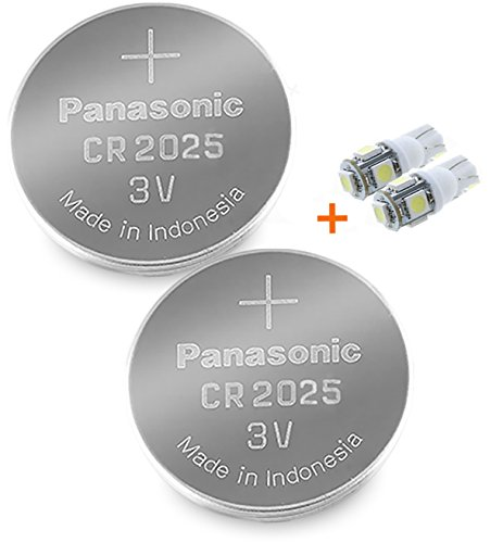 Panasonic ( 2 Pieces - CR2025 + 2 Bonus LED Bulbs ) Lithium Coin Cell Battery