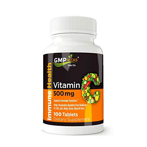 GMP Vitas Vitamin C, 500 mg, 100 Non-GMO Ascorbic Acid Tablets, boosts immune system, improves skin health, supports blood vessel and heart function, Fast shipping ()