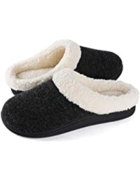 Women's Cozy Memory Foam Slippers Fuzzy Wool-Like Plush Fleece Lined House Shoes w/Indoor, Outdoor Nonslip Rubber Sole