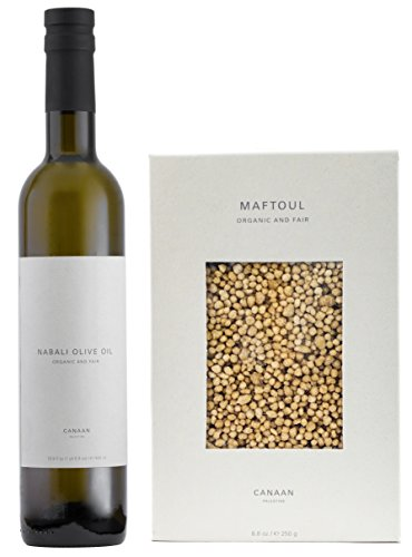 Organic Fair Trade Nabali Extra Virgin Olive Oil, Cold Pressed, 500ml BUNDLE with Hand Rolled Sun Dried Organic Maftoul, 250 gram (2 Items)