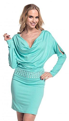 Glamour Empire. Donna Vestito aderente scollo drappeggio. Abito con borchie. 916 Menta