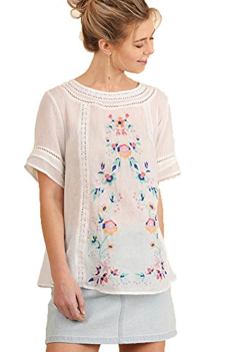Umgee Womens Short Sleeve Embroidered Blouse (L, White)