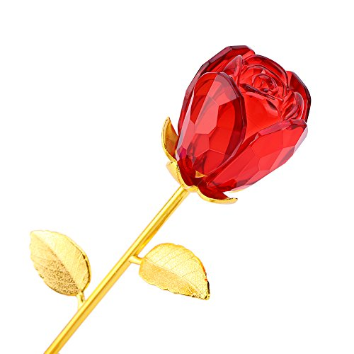 ZJchao Crystal Glass Rose Flower, 24K Gold Plated Long Stem Artificial Rose Flower Anniversary Birthday Valentines Gift for Her ()