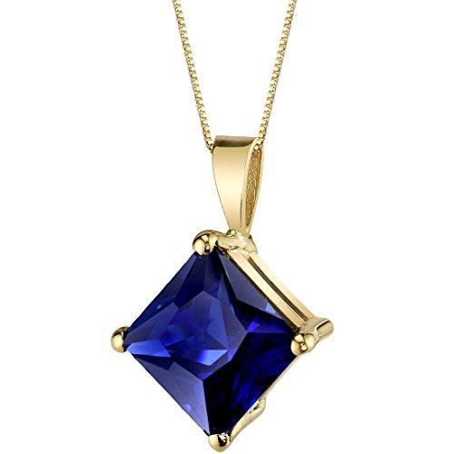 (14 Karat Yellow Gold Princess Cut 3.50 Carats Created Blue Sapphire Pendant)