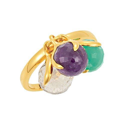 18K Yellow Gold Vermeil Multi-Gemstone Ring Size 7