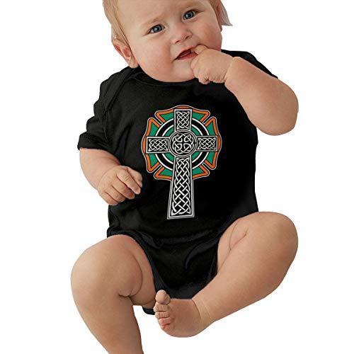 Firefighter Celtic Maltese Cross Baby Onesie Organic Short-Sleeve Bodysuit Black