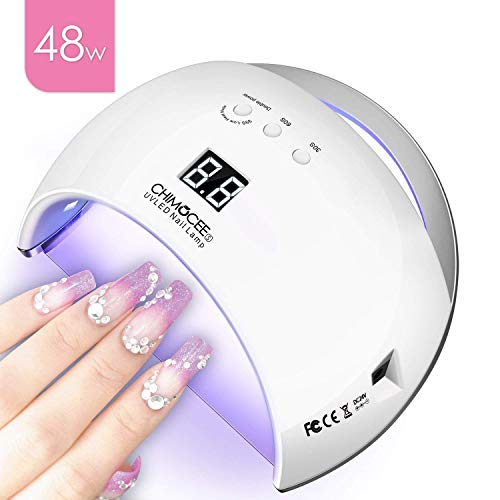 (48W UV Led Nail Dryer, CHIMOCEE Smart Curing Lamp, Auto Sensor Nail Gel Polish Dryer With 4 Timer Setting, Professional For All Brand Type of Gel Nail Polish)
