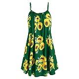 New in Respctful✿ Women's Boho Dress Casual Sunflower Print Maxis Dress with Bow Knot Kimonos Spaghetti Strap Dress (A_Green, 2XL)