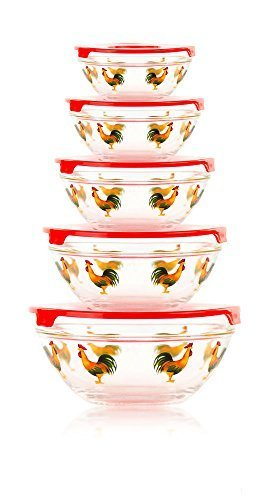 5 piece glass bowl set rooster - 5