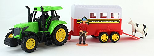 Farm World Friction Powered Green Toy Tractor Trailer Playset w. Trailer, Person Figure, & Animal Figure