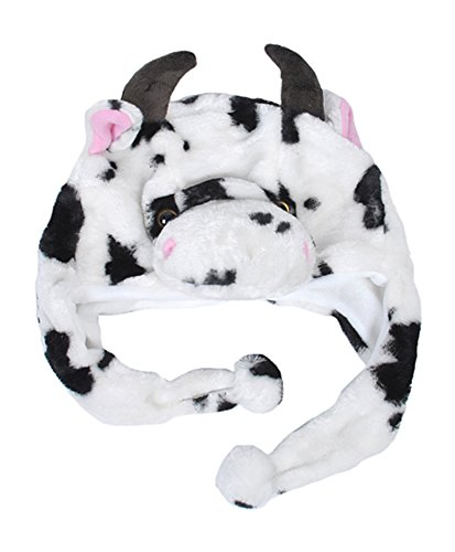 [Choose From Over 25 Animals! - Plush Faux Fur Animal Critter Hat Cap - Soft Warm Winter Headwear - Short with Ear Poms and Flaps & Long with Scarf and Mittens Available (Short] (Cow Head Hat Adult)