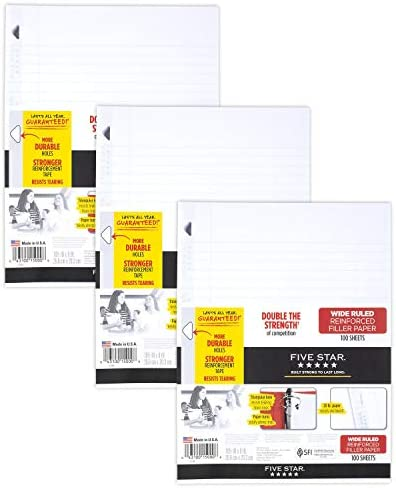 Five Star Loose Leaf Paper, 3 Hole Punched, Reinforced Filler Paper, Wide Ruled, 10-1/2 x 8 inches, 100 Sheets/Pack, 3 Pack (38033)