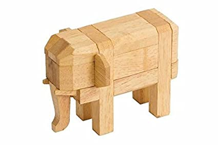Amazoncom 1 Wooden 3d Elephant Animal Brain Teaser Puzzle Light