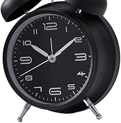 NR 置き時計 ダブルベル 機械式 目覚まし時計 高輝度 ヴィンテージスタイル - 白