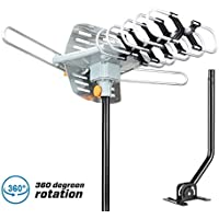 HDTV Antenna,Sobetter Outdoor 150 Mile Long Range Amplified Digital Outdoor TV Antenna with Signals UHF/VHF/FM/Radio 360°Rotation - High Performance Outdoor Antenna with 33-Feet Coax Cable with Pole