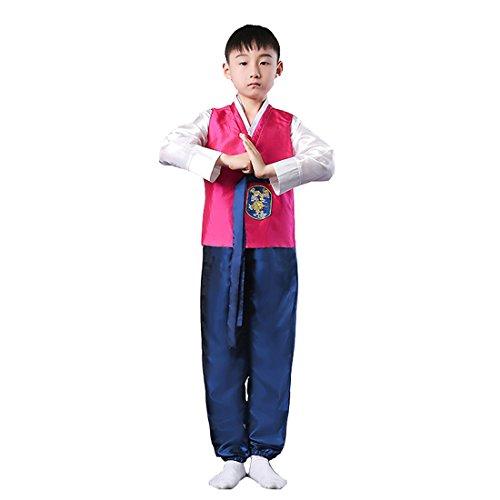 [Ez-sofei Boys Korean Traditional Costumes Hanboks 130 Rose Red&Blue] (Korean Costume For Boys Kids)