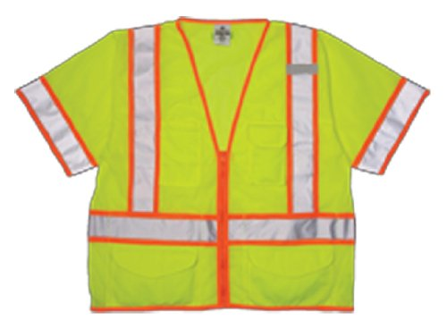 ML Kishigo 1242 Ultra-Cool Polyester Mesh Class 3 Surveyors Vest, Large, Lime