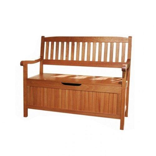 Truhenbank OXFORD Holz Eukalyptus 2-Sitzer Gartenbank mit Staufach Gartenmöbel Truhe NEU