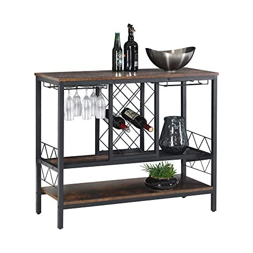 Home Bar Cabinetry WAYTRIM Wine Rack Table with Glass Holder, Vintage Industrial Wine Bar Cabinet with Storage, Wine Storage Organizer… home bar cabinetry