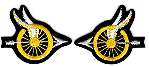 EMBROIDERED UNIFORM PATCHES & EMBLEMS Motorcycle Officer - Yellow Wheel with Wings and Arrow - Small - Pair ()