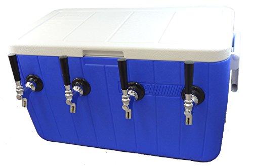 Bev Rite CJB48450 50' SS Coil Quadruble Jockey box, 48 quart Cooler (4 Lines), Blue or Red