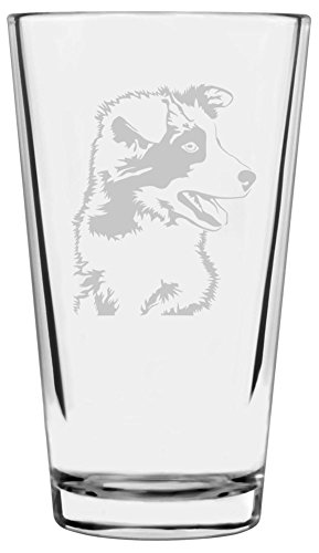 Border Collie Dog Themed Etched All Purpose 16oz Libbey Pint Glass ()