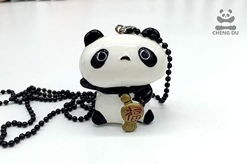 sichuan tourist souvenirs cute panda costume fukubukuro melamine resin necklace pendant chain couple decorative lanyards (fukubukuro brother