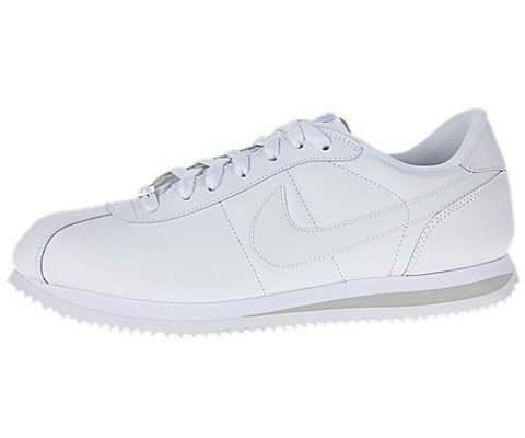 Nike Mens NIKE CORTEZ BASIC LEATHER 06 CASUAL SHOES 9.5 (WHITE/WHITE/LIGHT ZEN GREY) (Cortez Mens White Nike)
