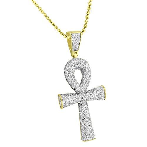 Croix d'Ankh Pendentif Or 14K Argent sterling diamants synthétiques Lune Collier