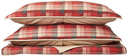 Cal King Size Quilt Bedding Set - Red, Plaid – 3 Piece Bedding Quilt Coverlets – Cotton Flannel Bed Quilts Quilted Coverlet ()