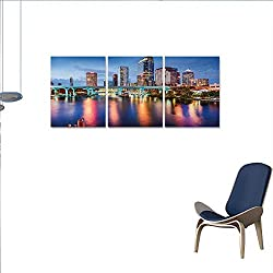 Anniutwo City 3 Piece Canvas Wall Art Hillsborough River Tampa Florida USA Downtown Idyllic Evening at Business District Print Paintings for Home Wall Office Decor 24x48x3pcs Multicolor